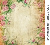 Stock photo  vintage background flowers background vintage paper roses pattern 186267278