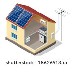 solar panels on the roof of the ... | Shutterstock .eps vector #1862691355