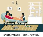 happy family at home. my... | Shutterstock .eps vector #1862705902