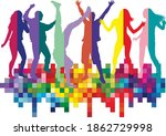 dancing people silhouettes.... | Shutterstock .eps vector #1862729998