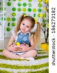 easter concept. girl in the... | Shutterstock . vector #186273182