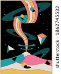 psychedelic space illustration  ... | Shutterstock .eps vector #1862745532