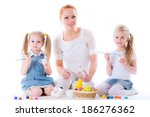 mom and daughters are preparing ... | Shutterstock . vector #186276362