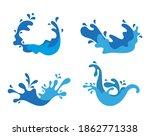 vector blue water splash icons | Shutterstock .eps vector #1862771338