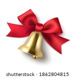 decorative  red bow and golden... | Shutterstock .eps vector #1862804815