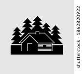 log cabin in the woods vector... | Shutterstock .eps vector #1862820922