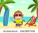 The Illustration Of The Monkey...