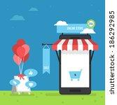 online store mobile flat design | Shutterstock .eps vector #186292985