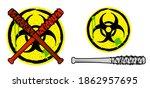 biohazard sign and baseball... | Shutterstock .eps vector #1862957695