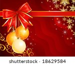 Christmas decoration with ribbon / holiday background / vector / The layers are separated - stock vector