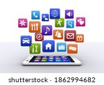 smartphone and colorful... | Shutterstock . vector #1862994682