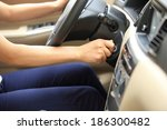 woman driver starting the car  | Shutterstock . vector #186300482