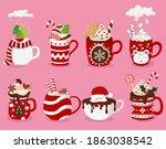 set of christmas hot drinks ... | Shutterstock .eps vector #1863038542