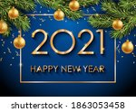 2021 happy new year gold text... | Shutterstock .eps vector #1863053458
