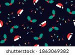 christmas seamless pattern on a ... | Shutterstock . vector #1863069382