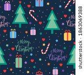 christmas seamless pattern.... | Shutterstock . vector #1863069388