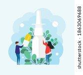 nasal spray with eucalyptus... | Shutterstock .eps vector #1863069688