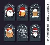 christmas gift tags. vector... | Shutterstock .eps vector #1863085885