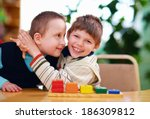 happy kids with disabilities in ... | Shutterstock . vector #186309812