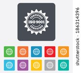 ISO 9001 certified sign icon. Certification star stamp. Rounded squares 11 buttons. Vector