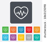 heartbeat sign icon. cardiogram ... | Shutterstock .eps vector #186315098