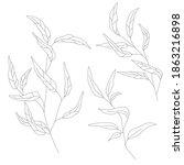 minimalism line drawing. leaf... | Shutterstock .eps vector #1863216898