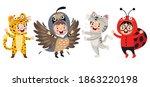 funny children waering animal... | Shutterstock .eps vector #1863220198