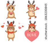 the collection of cute reindeer ...   Shutterstock .eps vector #1863230845