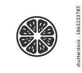 citrus icon. orange black... | Shutterstock .eps vector #1863233785