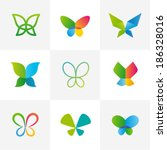 butterfly set | Shutterstock .eps vector #186328016