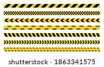 warning yellow tape set.... | Shutterstock .eps vector #1863341575