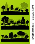 forest trees silhouettes...   Shutterstock .eps vector #186334295