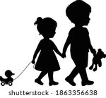 big brother and little sister... | Shutterstock .eps vector #1863356638