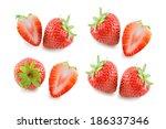 two fresh ripe red strawberries ... | Shutterstock . vector #186337346