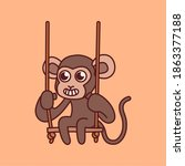 monkey playing single swing... | Shutterstock .eps vector #1863377188