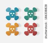 paper clipped sticker  symbol... | Shutterstock .eps vector #186338828