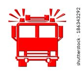 three dimensional firetruck icon | Shutterstock . vector #186343292