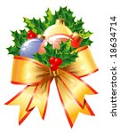 Christmas decoration/ Holly, balls and ribbon / vector / The layers are separated - stock vector