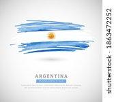 brush flag of argentina country.... | Shutterstock .eps vector #1863472252