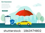 car on street under protection...   Shutterstock .eps vector #1863474802