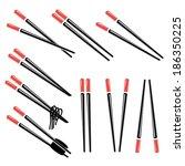chopsticks on white background | Shutterstock .eps vector #186350225