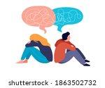 young people  teenagers  couple ... | Shutterstock .eps vector #1863502732