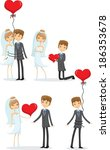 set of wedding pictures  bride... | Shutterstock .eps vector #186353678