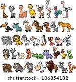set of cute cartoon animals | Shutterstock .eps vector #186354182