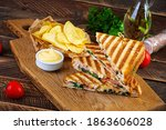 Club Sandwich With Ham  Cheese  ...