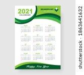simple green 2021 calendar... | Shutterstock .eps vector #1863641632
