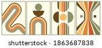 retro vintage 70s style stripes ... | Shutterstock .eps vector #1863687838
