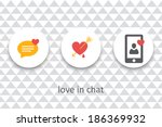 vector set of flat love icons... | Shutterstock .eps vector #186369932