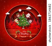 merry christmas and happy new...   Shutterstock .eps vector #1863714682