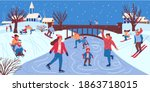 people in winter park. cartoon... | Shutterstock .eps vector #1863718015